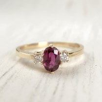 Vintage Ruby and Diamond Trilogy ring in yellow Gold