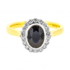 Vintage Sapphire and Diamond Halo Ring