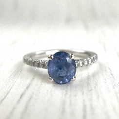 Vintage Sapphire and Diamond Shoulder Engagement ring