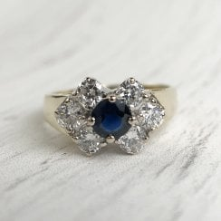 Vintage Sapphire and Diamonds Dress Ring