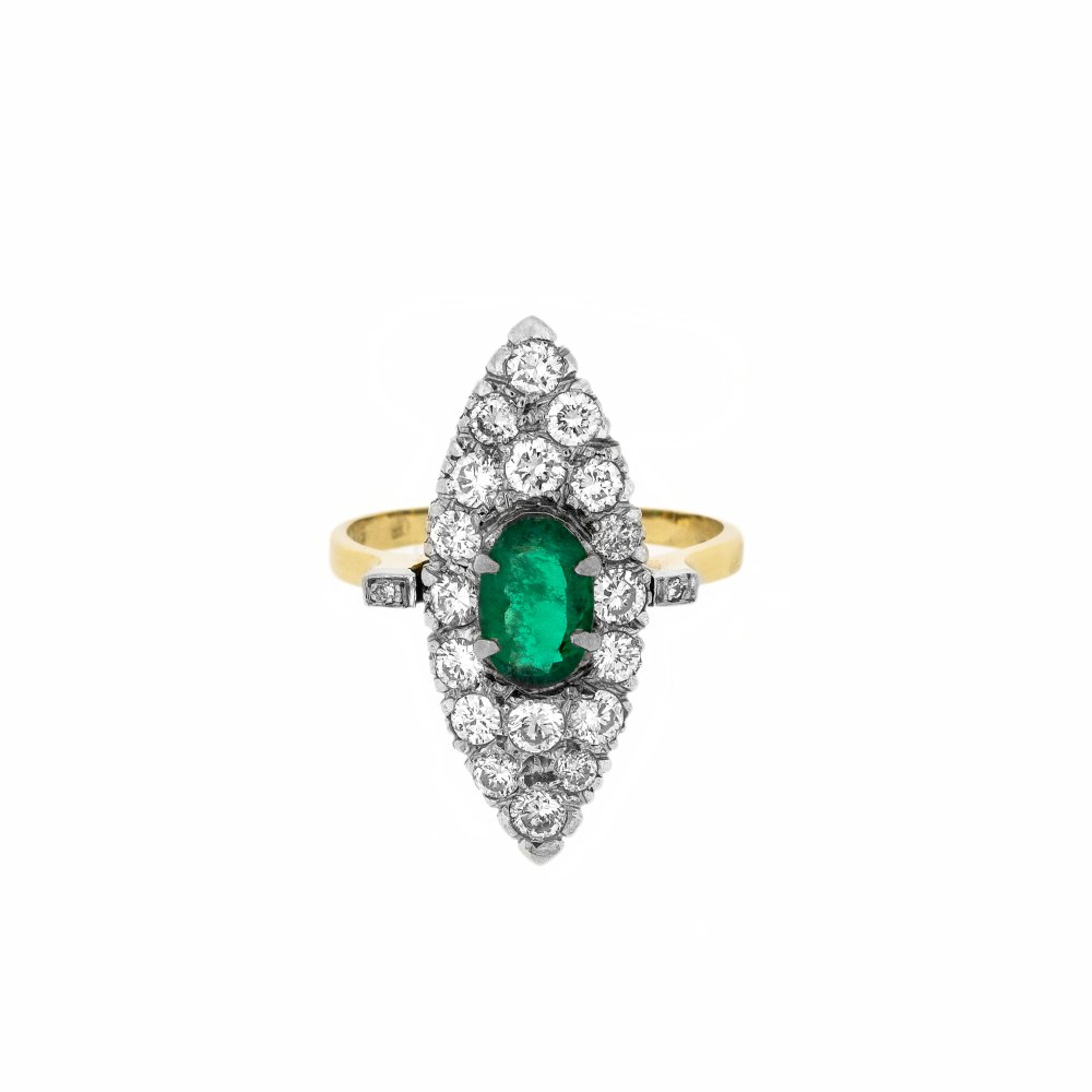 vintage style synthetic emerald marquise ring