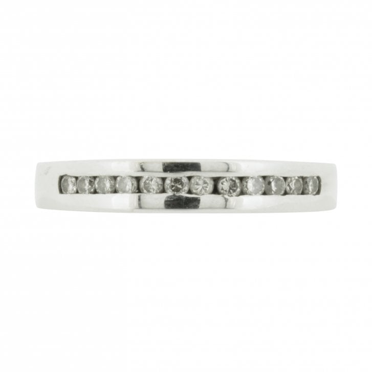 White Gold Channel Set Diamond Half-Eternity Band