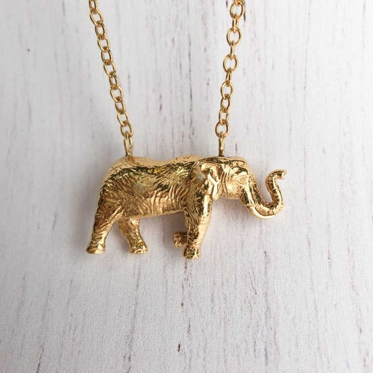 Wild Armour Gold Plated Elephant necklace
