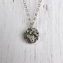 Silver Earth Necklace on 24 Inch chain