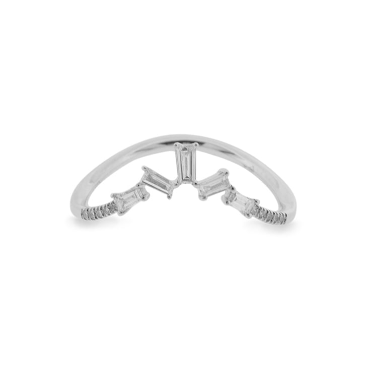 Richard Woo Wishbone Ring Scattered Diamond Baguettes