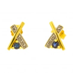 Yellow and White Gold Cross with Sapphire Accent Studs