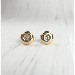 Yellow Gold Doughnut Diamond Studs