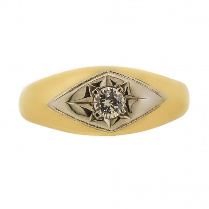 Yellow Gold Ring with Gypsy Set Diamond
